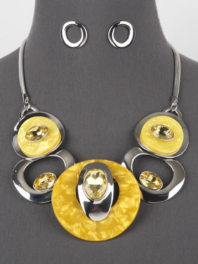 Yellow Silver Necklace Set