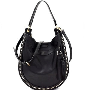 Black Hardware Woven 2 Way Tassel Hobo Bag