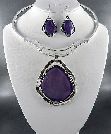 Purple Choker Necklace Set