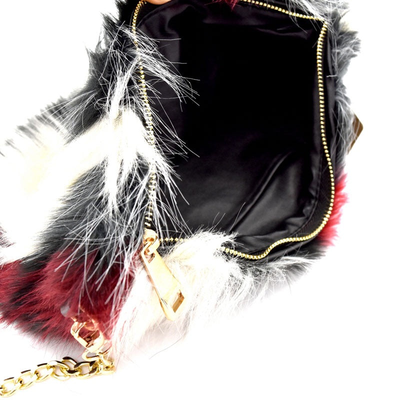 Burgundy Multi Color Faux Fur Clutch