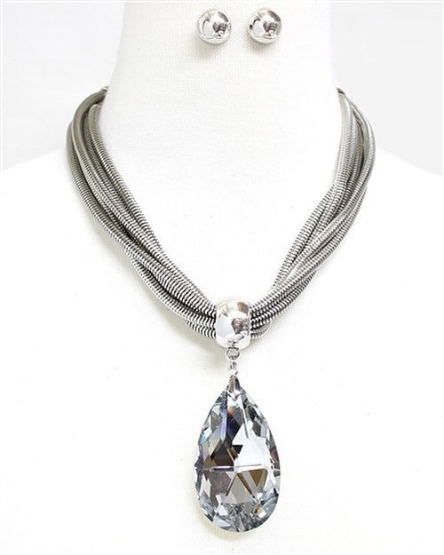 Crystal Silver Necklace Set