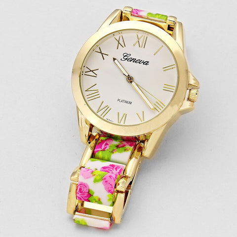Pink and Green Gold Tone Watch