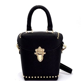 Black Push Lock Accent Studded Crossbody