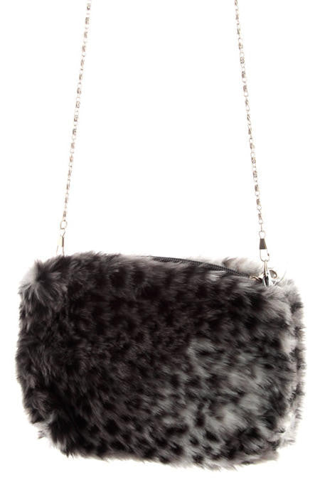 Grey Leopard Faux Mink Shoulder Bag