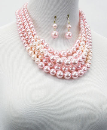 Pink Pastel Pearl Necklace Set
