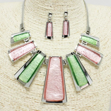 Pink and a Green Necklace Set