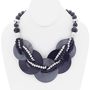 Black Circle Necklace Set