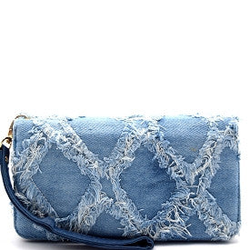 Vintage Frayed Denim Wallet