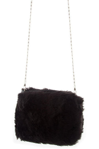 Black Faux Fur Small Cross Body Bag.