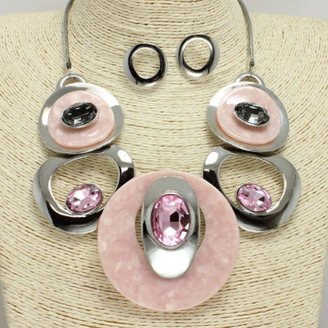 Pink Circle Necklace Set