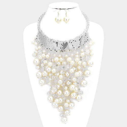 Pearl Silver Necklace Set