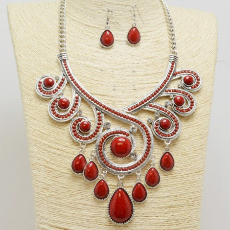 Red Swirl Silver Necklace Set
