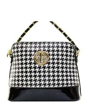 Embellished Croosbody Messenger Bag Houndstooth