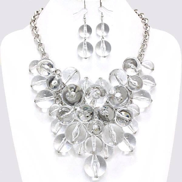 Clear Chunky Teardrop Necklace Set