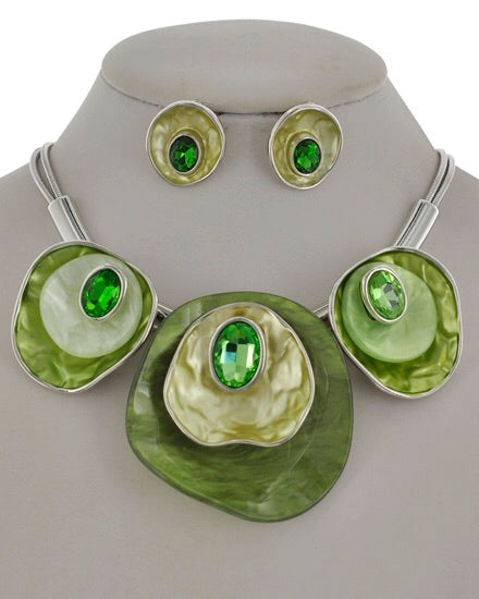 Silver tone Green Statement Necklace Set