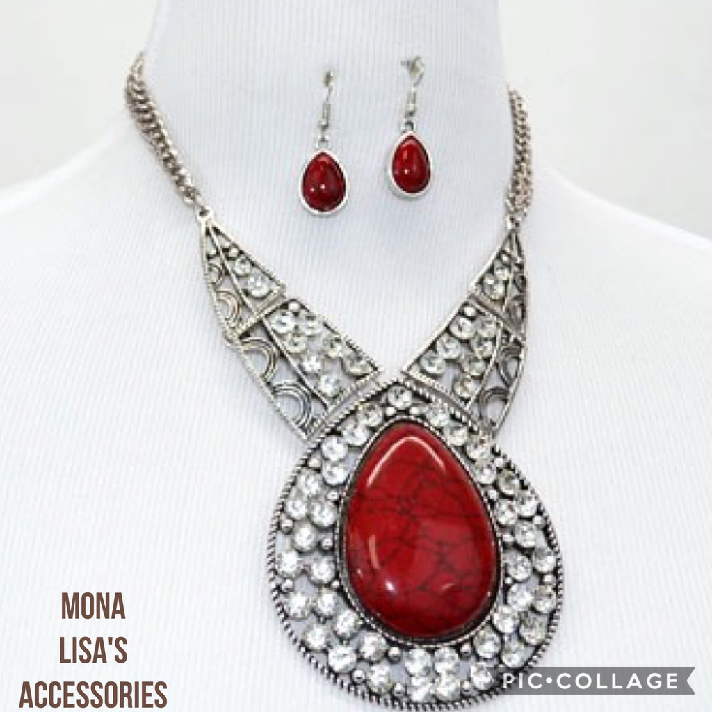 Beautiful Chunky Red Rhinestone Necklace Set