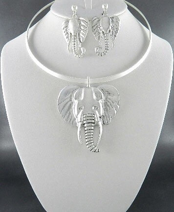 Silver Elephant Choker Necklace Set