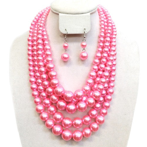Pink Pearl Multistrand Necklace Set