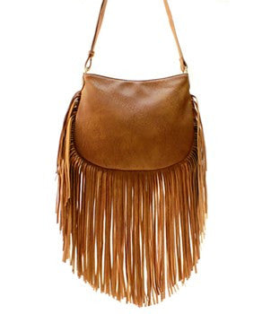 Tan Fringe Messenger Bag