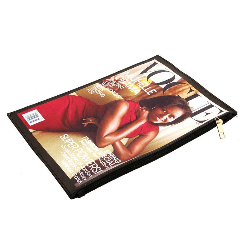 Stylish Michelle Obama Red and Gold Magazine Clutch