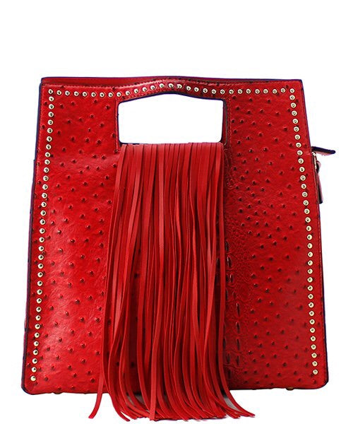 Red Ostrich Fringe Satchel