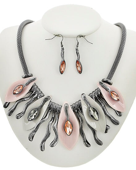 Pink and Grey acrylic & glass Statement Necklace Set