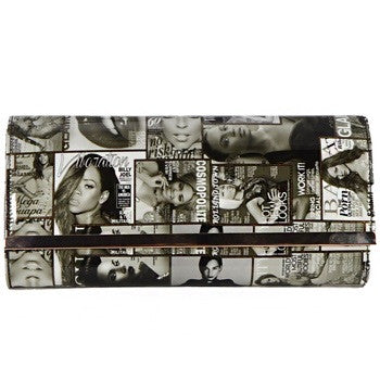 Parody Black Magazine Clutch with Silver Hardware