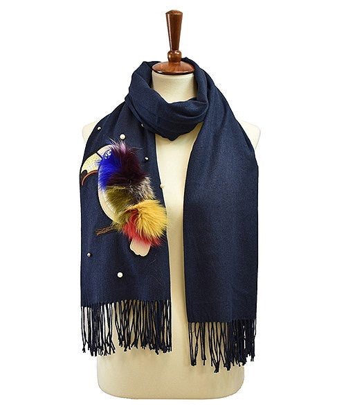 Navy Blue Parrot Wrap Scarf