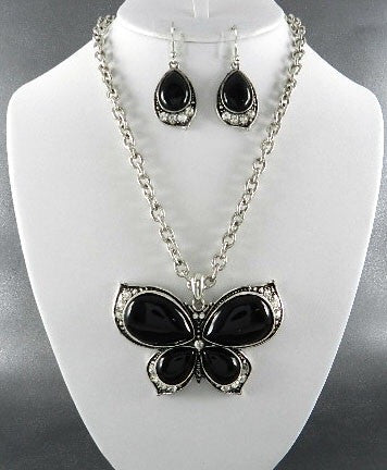 Black and Silver Butterfly Necklace Set