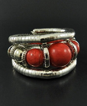 Red and Silver Stretch Bracelet