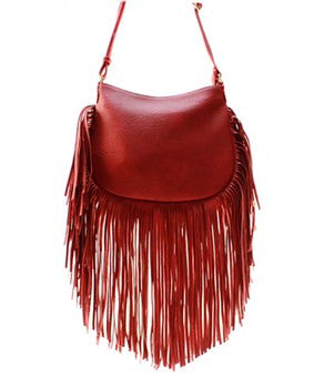 Trendy Red Fringe Messenger Bag