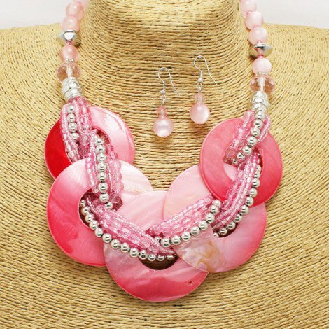 Bead Pink Circle Necklace Set