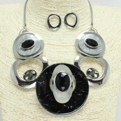 Black Silver Circle Necklace Set