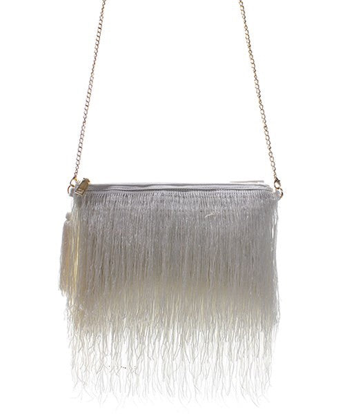 White Fashion Faux Leather Messenger/Clutch Bag with Fringe