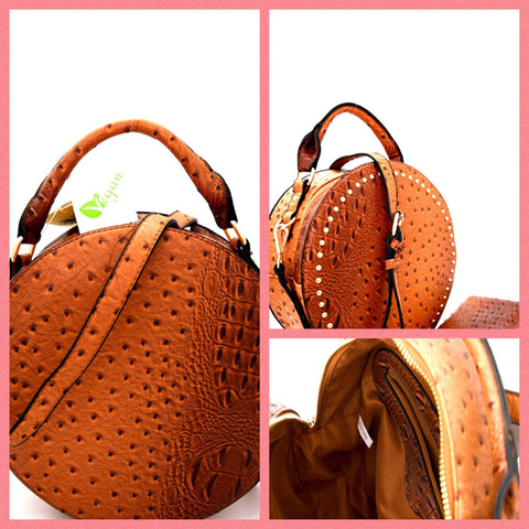 Brown Ostrich Studded Satchel with matching Wallet.