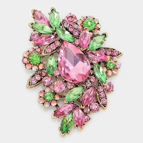 Pink and Green Brooch