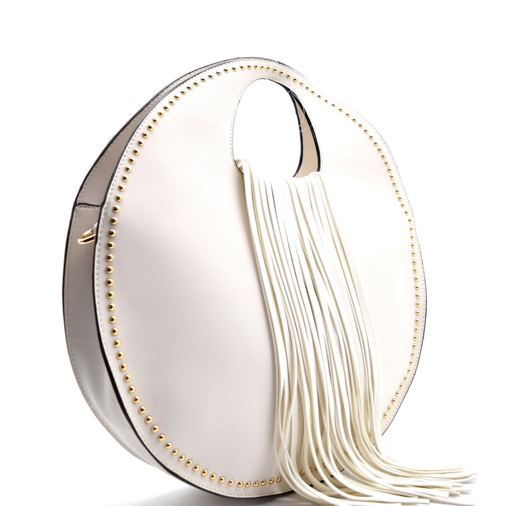 White Fringe Satchel
