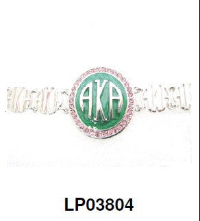 AKA Pink and Green Silver Bracelet