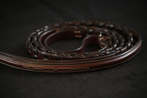 "NEW New Cavalry Raised Fancy Stitched Hunter Laced Reins (54"")"