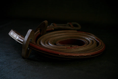 "Edgewood Raised and Fancy Stitched Rubber Reins with Stoppers (54"")"