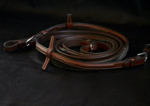 "Antares Rubber Fancy Stitched Reins (54"")"