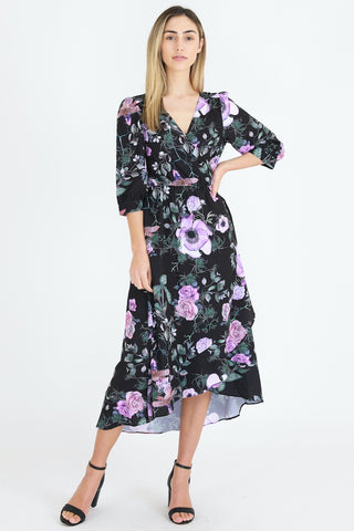 Mulberry Print Wrap Dress