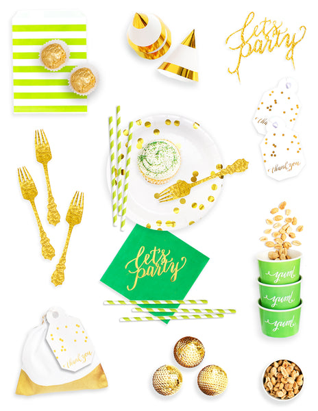 Green Gold Party Decorations