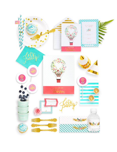 Hot Air Balloon Party In A Box - THE FANCY, Dreaming Of Clouds Party Collection, modern party supplies online