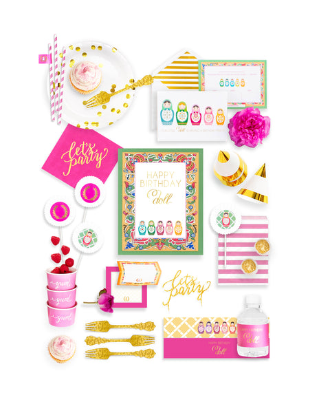 Nesting Doll Party In A Box - THE FANCY, Merry Matryoshka Party Collection, modern party supplies online