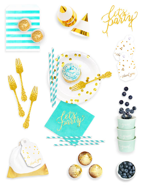 Mint Gold Party Decorations