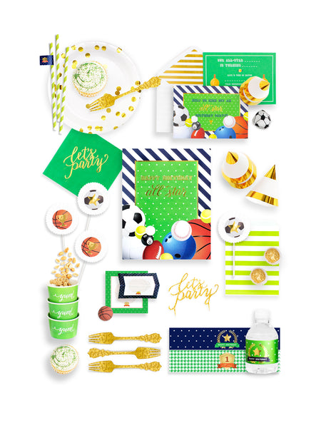 Sports Party In A Box - THE FANCY, All Star Player Party Collection, modern party supplies online