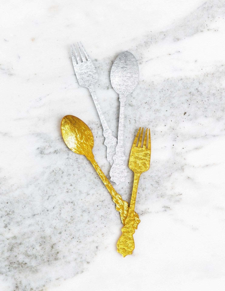 Gold Flatware Acrylic, Metallics Party Collection, modern party supplies online