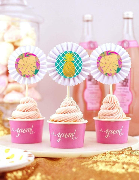 Baby Shower Cupcake Toppers, Flamingo Party Collection, modern party supplies online