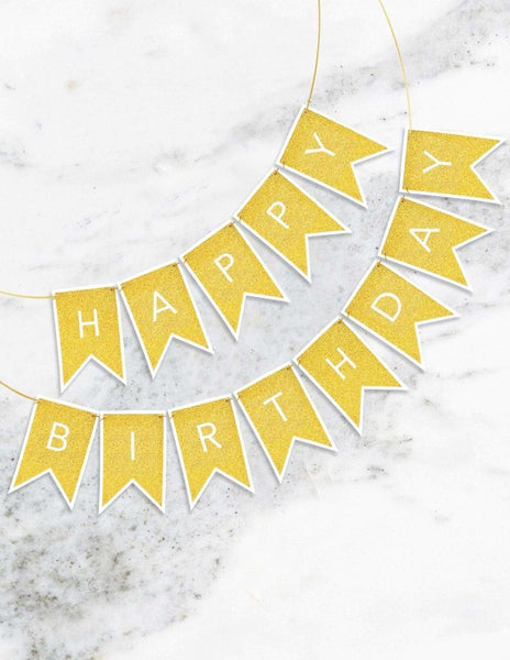 Birthday Banner (Gold), Metallics Party Collection, modern party supplies online